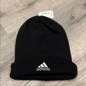 Adidas black beanie team issue fold